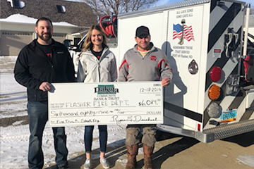DCB&T Presenting Check to Flasher Fire Dept
